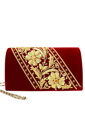 Velvet Gold Clutch Bag