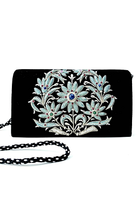 Black Velvet Silver Clutch Bag
