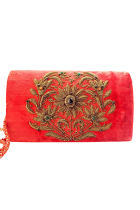 Antique Copper Orange Velvet Clutch