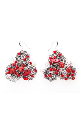 Wire & Red Coral Earrings