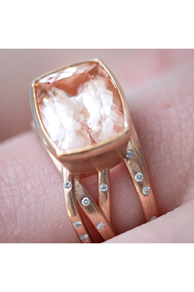14kt Rose Gold Morganite & Diamond Ring with Woven Band