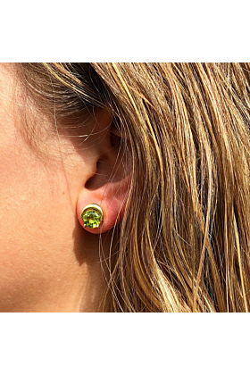 Yellow Gold Plated Natasha Earrings With Peridot