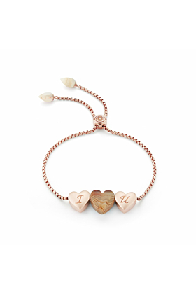 Luv Me Lace Agate Adjustable Heart Bracelet