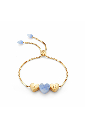 Luv Me Blue Howlite Adjustable Heart Bracelet