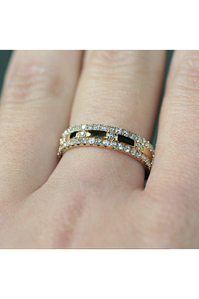 18kt Yellow Gold Diamond XX 3-Ring Combination