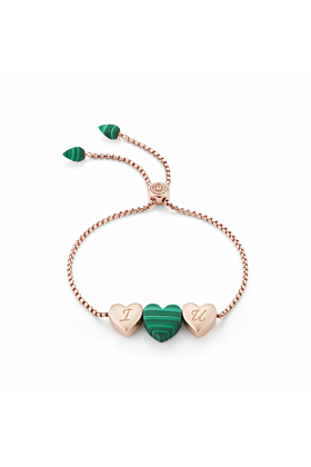 Luv Me Malachite Adjustable Heart Bracelet