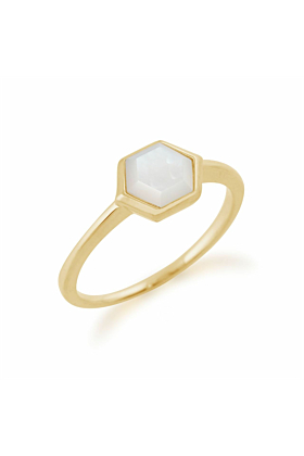 Gemondo Gold Plated Silver Mother of Pearl Hexagon Ring