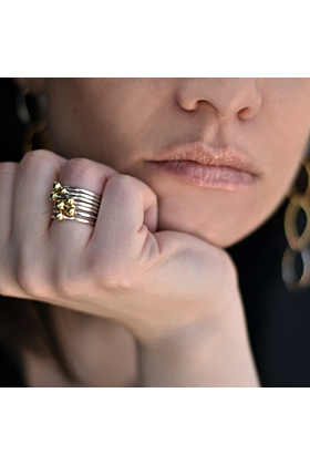 Sterling Silver & Brass Stackable Bubbles Ring