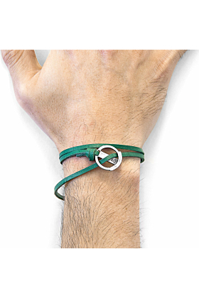 Fern Green Ketch Anchor Silver and Flat Leather Bracelet