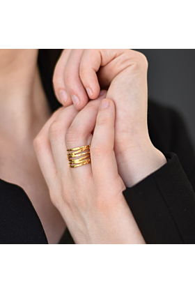 24kt Gold Plated Silver Wave Ring