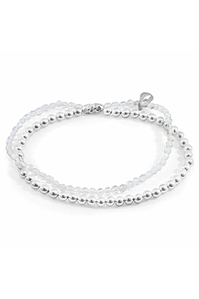 Clear Rock Crystal Harmony Silver and Stone Bracelet