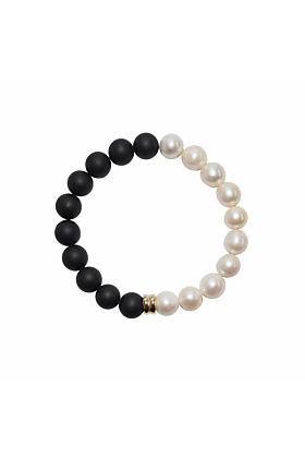 14kt Yellow Gold White Pearl & Onyx Orbis Bracelet