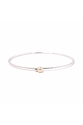 Silver & Pearl Satellite Bangle