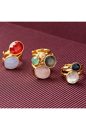 18kt Yellow Gold Plated Silver Atomic Midi Blue Sunstone Adjustable Ring