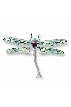 Silver Dragonfly Green Brooch