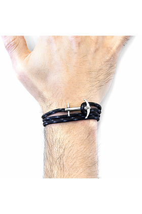 Black Admiral Anchor Silver and Rope Bracelet