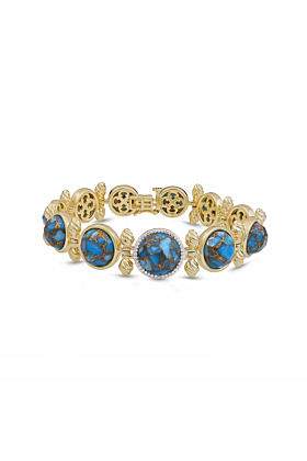 Yellow Gold Plated Silver & Turquoise Summer Nights Bracelet