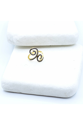 14kt Yellow Gold Double Spiral Black Diamond Statement Ring
