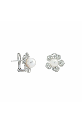Pearl And Diamond Daisy Earrings