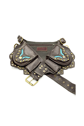 Brown and Teal Leather Hip Belt