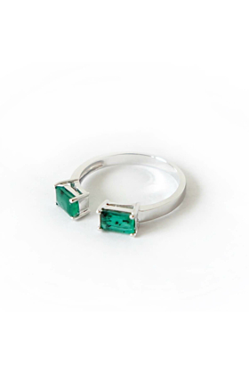Sterling Silver Two Emerald Double Bar Ring