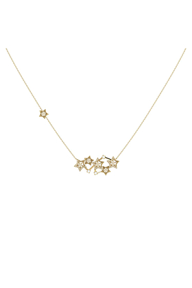 Yellow Gold Plated Silver Starburst Constellation Necklace