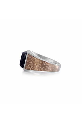 Brown Rhodium Plated Silver & Grey Picture Agate Stone Ring