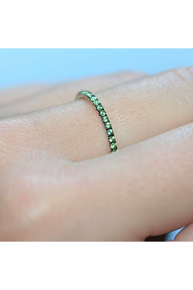 Green Garnet Full Eternity Ring In 18kt White Gold