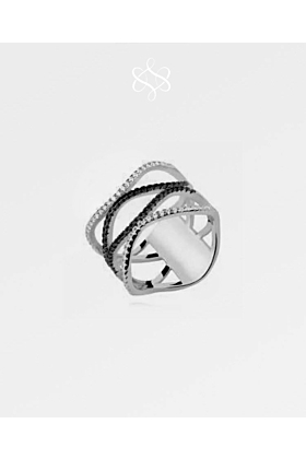 Black and White Diamond Wave Ring