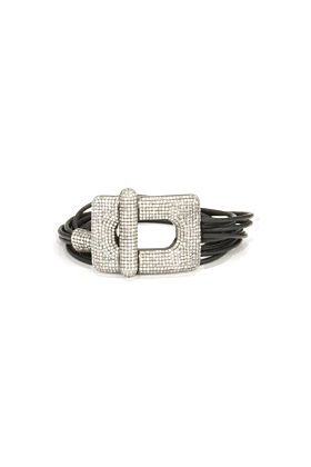 Leather & Diamond Buckle Bracelet