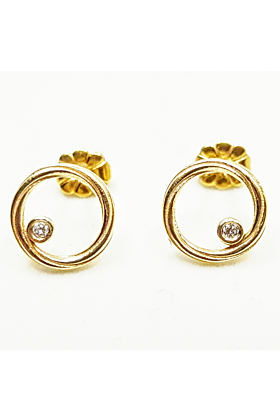 9kt Gold & Diamonds Twist Continuum Earrings