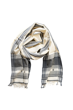 Cotton White & Grey Unisex Scarf