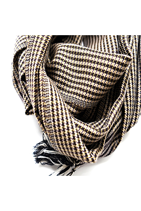 Merino Wool White & Black Checked Unisex Scarf