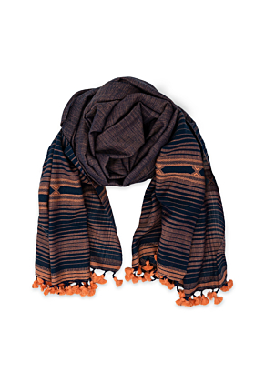 Blue & Peach Stripe Patterned Embroidered Scarf With Pom Poms