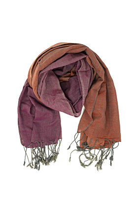 Two Tone Magenta & Peach Cotton Scarf