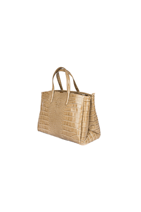 Beige Crocodile Embossed Tote Bag