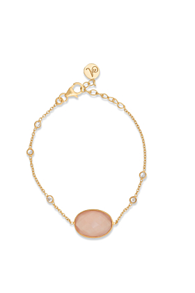 18kt Gold Plated Silver Rose Quartz & Cubic Zirconia Chain Bracelet