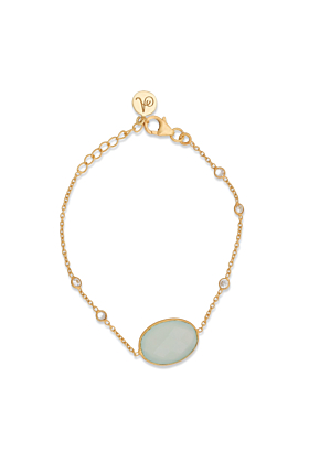 18kt Gold Plated Silver Aqua Chalcedony & Cubic Zirconia Chain Bracelet