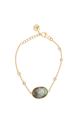 18kt Gold Plated Silver Labradorite & Cubic Zirconia Chain Bracelet