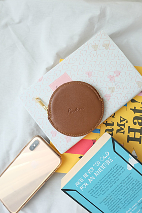 """Pluto"" Leather Coin Purse in Tan"