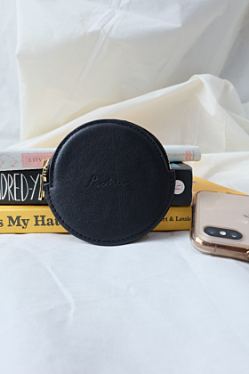 """Pluto"" Leather Coin Purse in Noir (Black)"