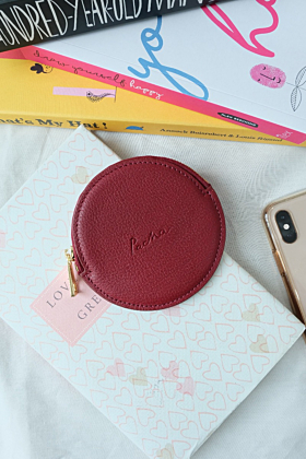 """""""Pluto"""" Leather Coin Purse in Rouge (Red)"""