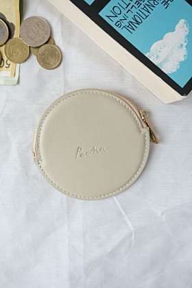 """Pluto"" Leather Coin Purse in Crème"