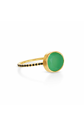 Clea Chrysoprase and Black Diamond Ring