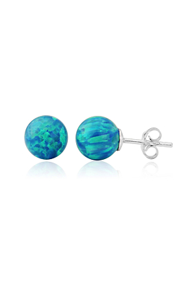 Sterling Silver Aqua Opal Stud Earrings