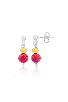 Sterling Silver & Gold Red Opal Drop Earrings