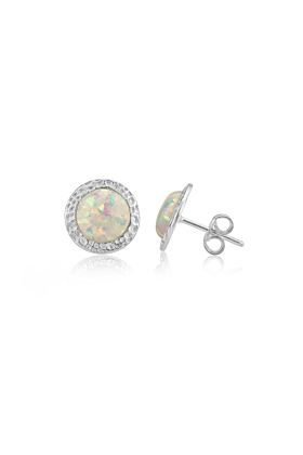 Sterling Silver & White Opal Hammered Stud Earrings