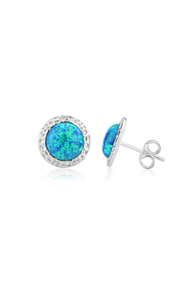 Sterling Silver & Aqua Opal Hammered Stud Earrings