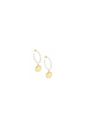 18kt Yellow Gold Pearl Coin Hoops