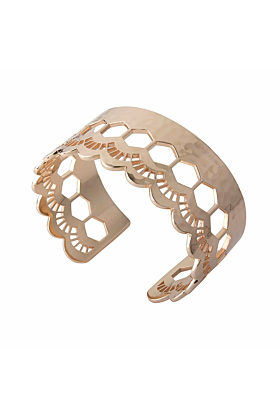 Rose Gold Lace Edge Open Cuff Bangle